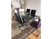 John Lewis Frost 6-Seater Chrome Frame & Glass Dining Table & 6 Ronson Leather & Chrome Frame Chairs