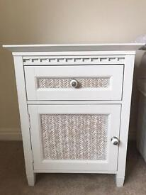 White and Cream Bedside Cabinet/Tables
