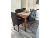 Oak veneer dining table and 6 soft leather chairs