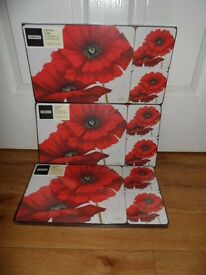 3 Poppies Placemats and Coaster sets