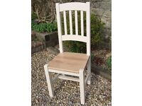 Hand Painted Hardwood Dining Chair, Natural Beech, Solid Seat Ladder Back