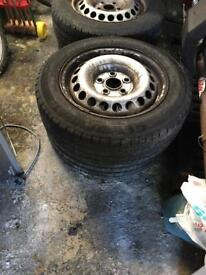 4 standard wheels & tyres removed from transporter VW