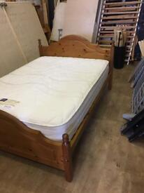 Double pine bed with mattress free delivery in hull