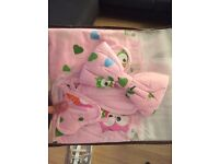 Brand New Baby Bedding Set 100% Cotton (Owls Pink) + Canopy Included