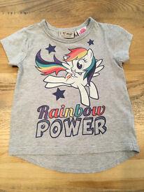 9-12 months baby girls clothes - Next Rainbow Power t shirt (fits quite big) VGUC