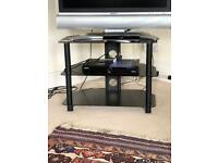 Strong, black glass 3-tier tv stand