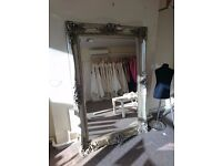 X-LARGE - 6ft x 4ft - Antique Silver Shabby Chic Ornate Decorative Wall Mirror