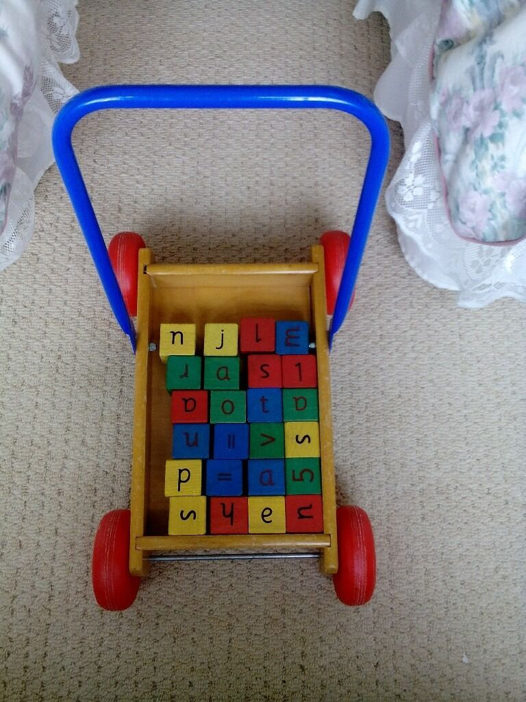 Baby Walkerin Saltburn by the Sea, North YorkshireGumtree - Wooden baby walker/toy with wooden blocks displaying numbers & letters . Wheels are plastic & handle metal