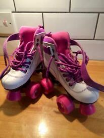 Children's girls SFR vision roller skates boots uk 12 EU 30.5 white purple