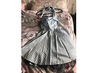Beautiful blue 1950s inspired polkadot swing dress