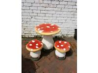 Childrens table and 2 stools