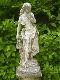Vintage Well Weathered Classic Female Holding Jug Garden Statue 66cm Tall