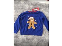 bnwt m&s Christmas jumper with sequin gingerbread man , age 18-24 months
