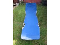Garden reclining chairs, blue, 2 nearly identical chairs.