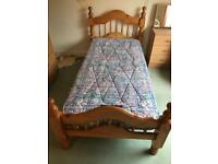 Single heavy pine wood bed frame and mattress £95