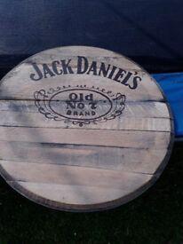 Jack Daniels barrel lid sign