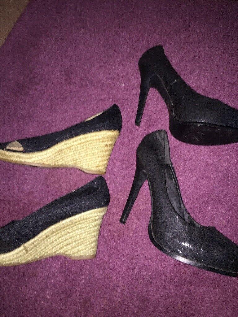 d0023b7bfb9c 2 pairs Ladies black shoes size 6