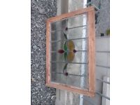 Large Victorian Framed Stained Glass Window