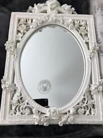 Ornate White Rose Wall Mirror (From Past-Times)