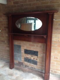 Solid Wood Fire Surround with Mirror