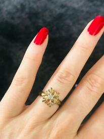 Cute Vintage Snowflake Ring / Band Signet Diamanté Ring Jewellery Christmas Gift