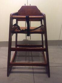 Restaurant style wooden high chair