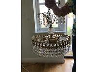 CHANDELIER CRYSTAL CENTRE LIGHT WITH 2 MATCHING WALLLIGHTS