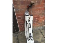 Sauder Golf Bag and Various Wilson/Slazenger Clubs