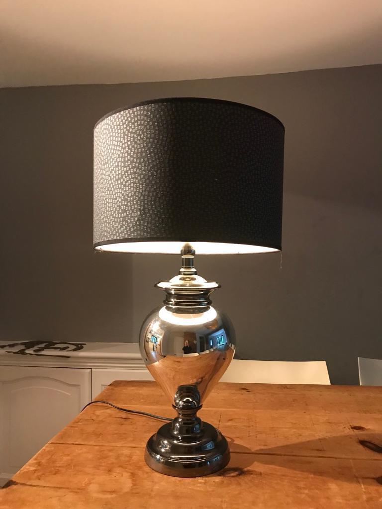 Large Dark Grey Black Silver Table Lamp
