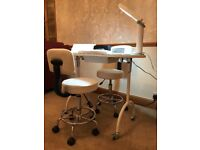 Manicure Station (Portable) with lamps and chairs