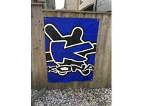 LARGE Vinyl graphic KONA wall hanging 4ft x 3ft - ready made holes so can be attached to a wall
