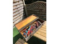 Joblot of tools in wood box