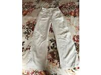 Maternity linen blend trousers