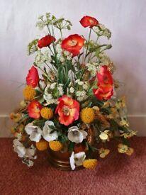 Poppies Cowslips Wild Flowers Barley Flower Arrangement in Brass Coal Scuttle Decoration / Ornament