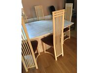 Dining table marble and 6 x chairs