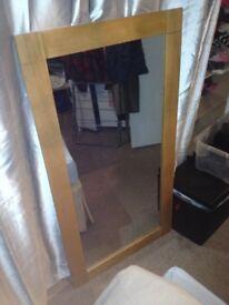 solid heavy oak mirror