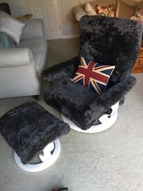 Stressless Chair & Stool recovered with a grey fur fabric. Great Christmas pressie for a man cave.