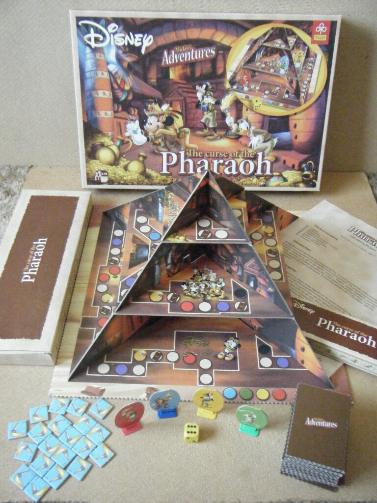"""Disney Mickeys Adventures """"THE CURSE OF THE PHAROAH"""" board game from 2008in Poole, DorsetGumtree - Disney Mickeys Adventures """"THE CURSE OF THE PHARAOH"""" game. Produced by Trefl 2008. Comes complete in excellent lightly used condition. Instructions for building pyramid missing but simple to do ( see pics ). Contents are 1 Playing board with..."""