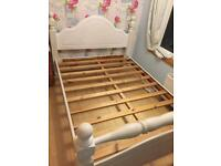 Double pine bed frame painted white