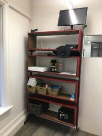 INDUSTRIAL BOOKCASE RED PAINTED WOOD AND STEEL