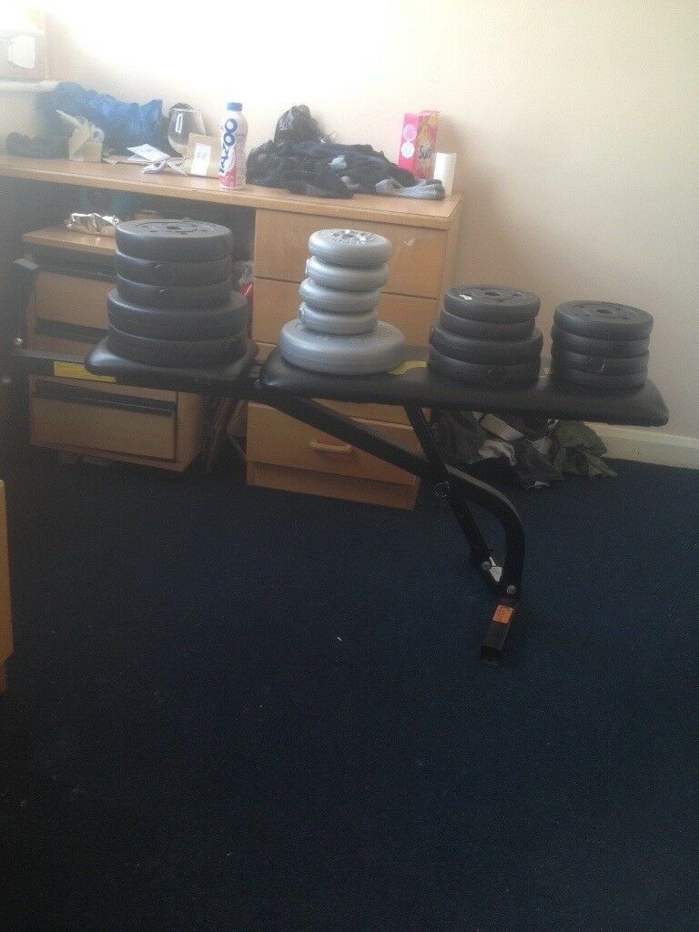Weights and bench cheap