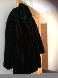 NEW Artificial BLACK Fur Coat IN size 18/20