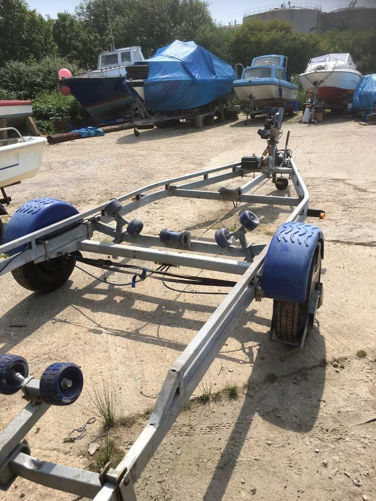 Boat Trailerin Havant, HampshireGumtree - Boat trailer will take up to 23 ft use to have Orkney pilot boat , has a electric winch or manual , light board new bearings , in great condition £1000 tel 07850210737