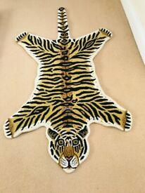 NEW TIGER LEOPARD ANIMAL PRINT 100% WOOL RUG SIZE 150CM X 90CM