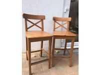 x4 Ikea Ingolf Bar stool style kitchen chairs, with backrest, pine, from Epsom Surrey