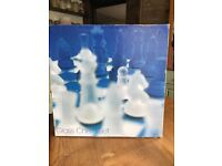 Glass blue and clear chess set. Perfect condition.