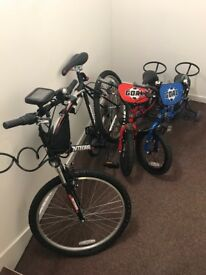 3 bicycles 1 for adults and 2 for kids, almost new used only 2 times. With the accessories