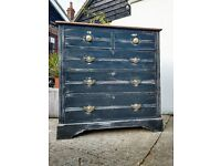 Vintage Victorian Mahogany Distressed Chest Of Drawers Shabby Chic - Delivery Available