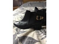 Women's black real leather ankle boots size 5