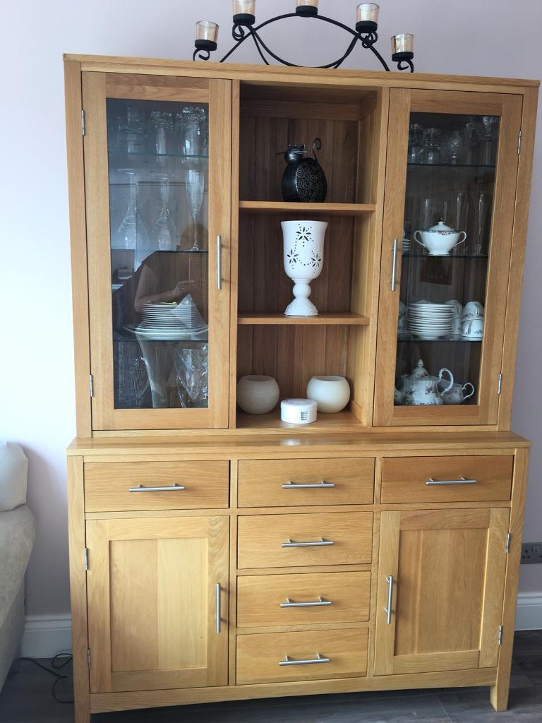 Oak unit with sideboard and glass display cabinet